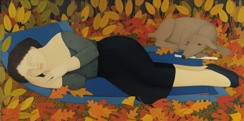 Andrew_Stevovich_oil_painting,_Woman_with_Autumn_Leaves,_1994_36-_x_72-
